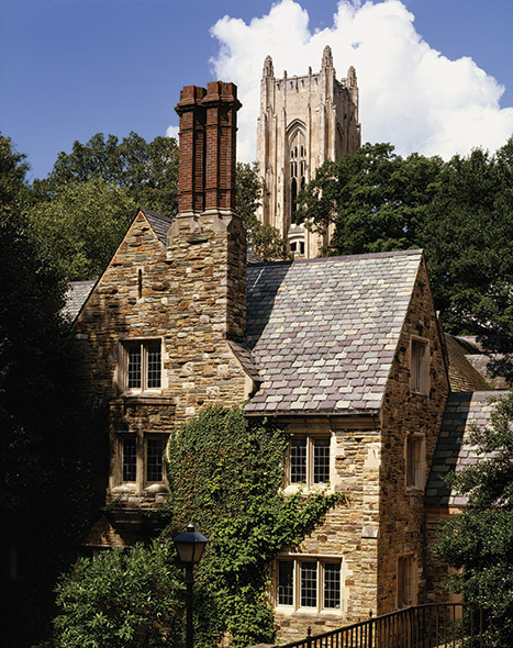 A stone building surrounded by trees with a tower off in the distance.