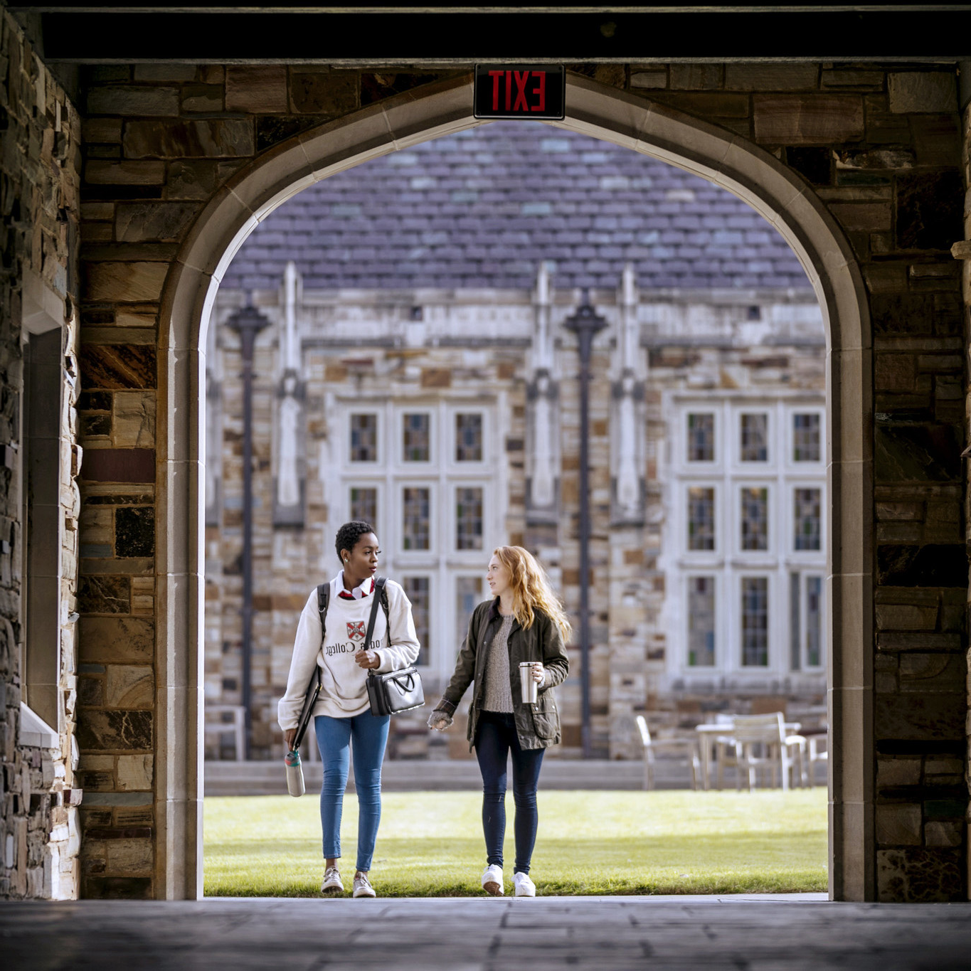 Two students walking together.