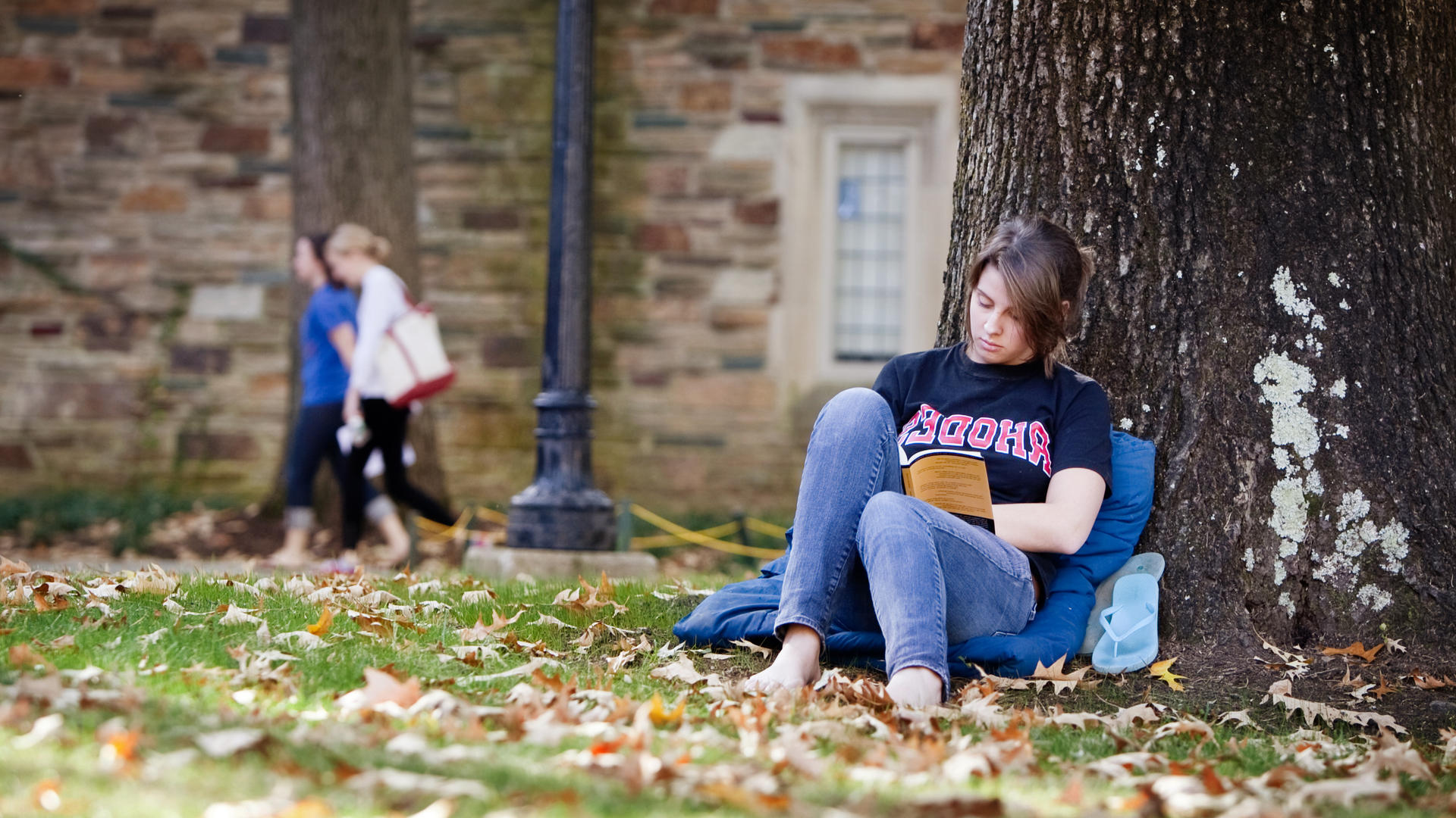 a student sits reading under a tree on campus