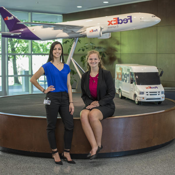 Two students at FedEx headquarters