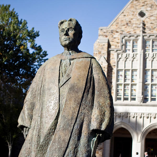 The Diehl statue in front of Burrow Hall