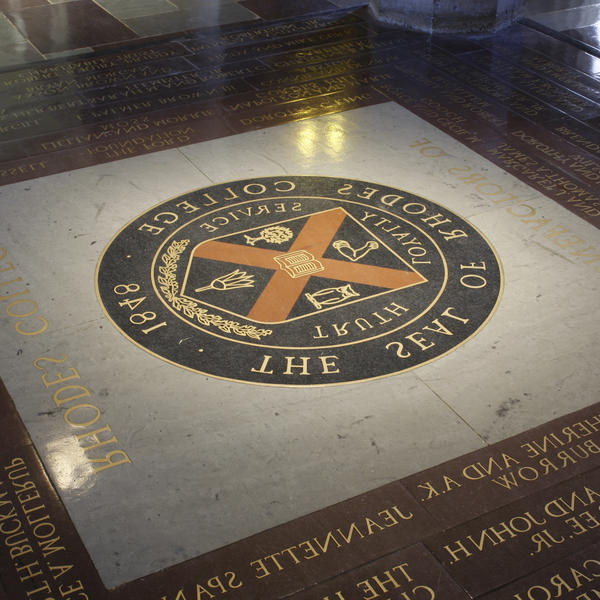 The seal of 赌博合法网站 inlayed in the floor of Palmer Hall. If a student walk across it, the legend says that they will ever graduate