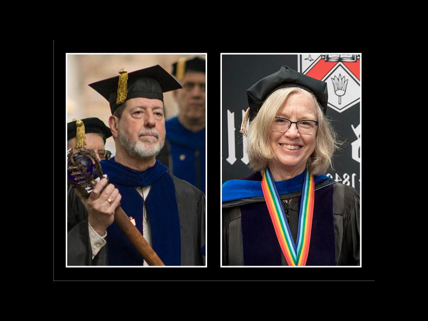 A side-by-side photo of two people in academic regalia
