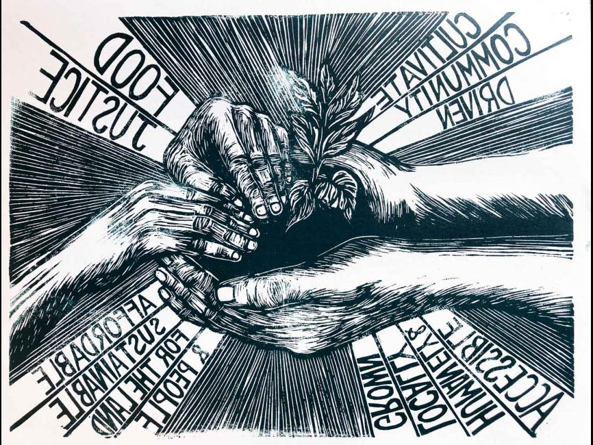 a graphic of hands working the soil and food justice logos