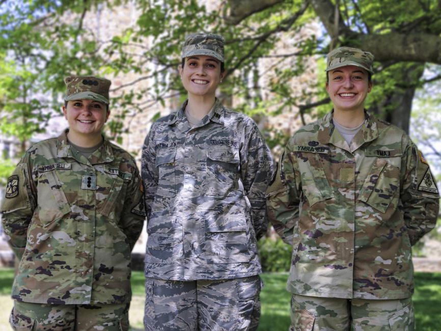 ROTC cadets wearing camouflage pants and jackets